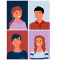 smiling man and woman portrait view photo vector image