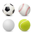 sport balls baseball football tennis golf vector image
