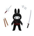 standing cute bunny ninja with weapons isolated vector image vector image