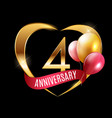 template gold logo 4 years anniversary with ribbon vector image vector image
