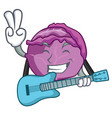 with guitar red cabbage mascot cartoon vector image