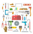 Flat design of wood work items set vector image