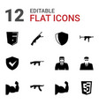 12 arms icons vector image vector image