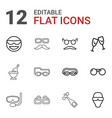 12 glasses icons vector image vector image