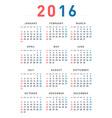 2016 modern calendar vector image