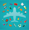 airplane travel amp tourism concept in flat style vector image