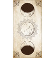 antique style moon phases poster vector image