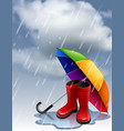 autumn background with rainbow umbrella and red vector image vector image