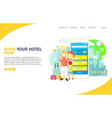 book your hotel now website landing page vector image vector image