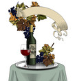 bottle wine glass grapes and banner vector image