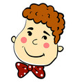 boy with happy face on white background vector image vector image