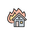 burning house fire insurance flat color line icon vector image vector image
