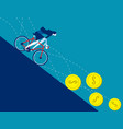 business women ride bicycle on coins that vector image vector image