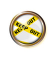 button wrapped police yellow stripes keep out vector image