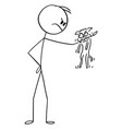 cartoon angry man with small aggressive dog or vector image vector image