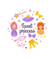 cartoon character princess emblem vector image vector image