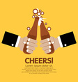 Cheering Of Two Bottles Beer vector image