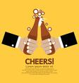 Cheering Of Two Bottles Beer vector image vector image