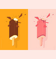 chocolate and strawberry ice lolly vector image vector image