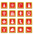 christmas icons set red vector image