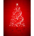 Christmas tree from stars on red background vector image vector image