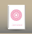 cover of diary notebook pink heart mandala vector image vector image