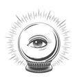 crystal ball with eye vector image vector image