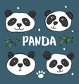 cute panda bear doodles set cute animals sketch vector image vector image