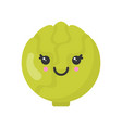 cute smiling cabbage isolated colorful vector image