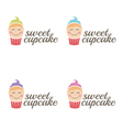 cute sweet cupcakes with eyes vector image