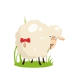 Cute White Sheep With A Bow on Tail Flat Design vector image