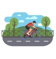 Cyclist on bike path vector image vector image