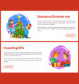 decorating christmas tree and unpacking gifts web vector image vector image