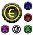 Euro buttons set vector image