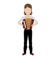 female avatar playing an accordion vector image