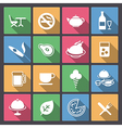 food and alcohol drink icons in flat design vector image vector image