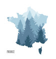 france map with tree silhouettes vector image vector image