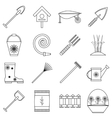 Gardener tools icons set outline style vector image