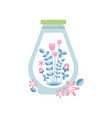 gentle blue leaves and pink flowers inside glass vector image