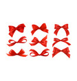 gift bows silk red ribbon with decorative bow vector image