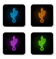 glowing neon usb symbol icon isolated on white vector image vector image