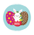 happy easter card template with cartoon vector image