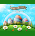 happy easter eggs with flowers tulipbutterfly vector image
