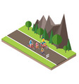 isometric countryside summer road family cycling vector image