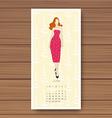 June Hand drawn fashion models calendar 2016 vector image vector image