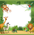 jungle animals card frame animal tropical leaves vector image vector image