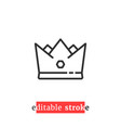 minimal editable stroke crown icon vector image
