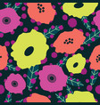 modern bright stylized flowers on dark background vector image vector image