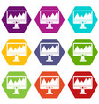 monitor and a chart icon set color hexahedron vector image vector image