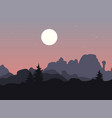 mountain landscape with single trees under vector image